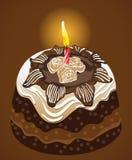 Bolo de chocolate da festa de anos com vela. Vetor Ilustração Royalty Free