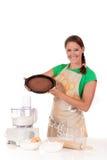 Bolo de chocolate da mulher Fotografia de Stock Royalty Free