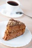 Bolo de chocolate da parte, café do copo, Imagens de Stock
