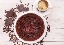 Bolo de chocolate da trufa Fundo Imagens de Stock Royalty Free