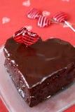 Bolo de chocolate dado forma coração Imagem de Stock