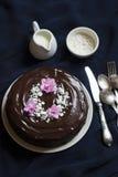 Bolo de chocolate decorado com migalhas e violetas da merengue imagens de stock