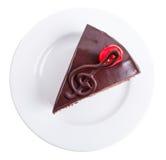 Bolo de chocolate delicioso com cereja do cocktail Foto de Stock Royalty Free