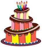 Bolo de chocolate do aniversário Imagens de Stock