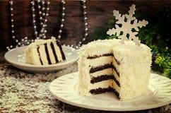 Bolo de chocolate do coco com queijo creme Imagem de Stock