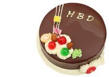 Bolo de chocolate do feliz aniversario no branco Imagens de Stock