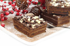 Bolo de chocolate do Natal fotografia de stock