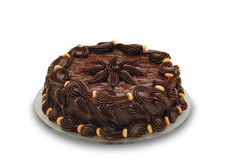 Bolo de chocolate escuro. Poço decorado Imagens de Stock