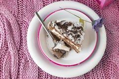 Bolo de chocolate. musse e creme de chantilly fotografia de stock