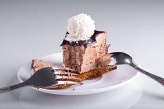 Bolo de chocolate saboroso Fotografia de Stock Royalty Free