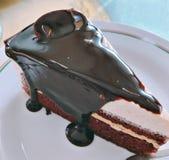 Bolo de chocolate suculento fotografia de stock