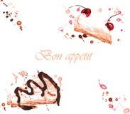 Bolo de creme de dois doces pintado Fotografia de Stock