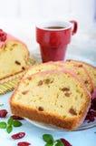 Bolo de frutas festivo macio com as passas e os arandos secados, decorados com crosta de gelo do açúcar Fotos de Stock Royalty Free