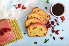Bolo de frutas festivo macio com as passas e os arandos secados, decorados com crosta de gelo do açúcar Imagens de Stock