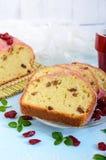 Bolo de frutas festivo macio com passas e os arandos secados Imagens de Stock