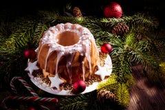 Bolo de madeira do Natal Imagem de Stock Royalty Free