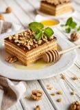 Bolo de mel mergulhado delicioso com cobertura do chocolate e da noz imagens de stock royalty free