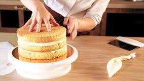 Bolo de montagem do cozinheiro chefe de pastelaria do negócio da loja do bolo video estoque