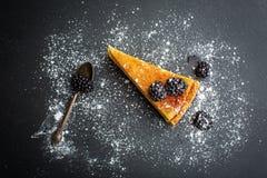 Bolo de queijo com amoras-pretas Imagens de Stock