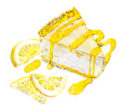 Bolo de queijo com limão e doce watercolor ilustração stock