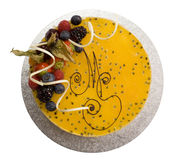 Bolo de queijo da fruta de paixão imagens de stock royalty free