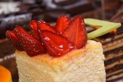 Bolo de queijo da morango Imagem de Stock Royalty Free