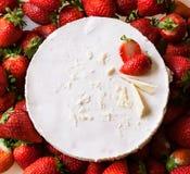 Bolo de queijo da morango Fotografia de Stock