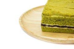 Bolo de queijo do bolo do chá verde de Matcha do japonês do close up Imagem de Stock