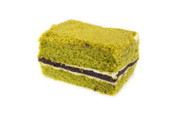 Bolo de queijo do bolo do chá verde de Matcha do japonês do close up Fotografia de Stock Royalty Free