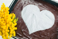 Bolo de queijo do coração do chocolate Imagens de Stock
