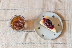 Bolo de queijo do mirtilo Fotos de Stock Royalty Free