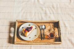 Bolo de queijo do mirtilo Imagens de Stock Royalty Free