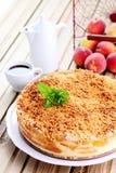 Bolo de queijo dos pêssegos Imagem de Stock Royalty Free