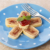 Bolo de rolo (swiss roll, roll cake) Brazilian dessert Stock Images
