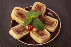 Bolo de rolo (swiss roll, roll cake) Brazilian dessert Royalty Free Stock Photo