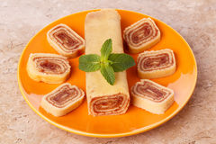 Bolo de rolo (swiss roll, roll cake) Brazilian dessert Stock Photos