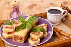 Bolo de rolo (swiss roll, roll cake) Brazilian dessert Stock Photo