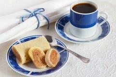 Bolo de rolo (swiss roll, roll cake) typical Brazilian dessert b Stock Photography