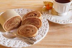 Bolo de rolo (swiss roll, rollcake)  Brazilian dessert horizontal Stock Images