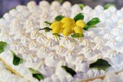 Bolo delicioso bonito do limão do casamento fotos de stock royalty free