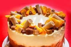 Bolo delicioso com laranja e chocolate Foto de Stock Royalty Free