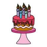 Bolo delicioso da cor com velas ardentes na tabela ilustração stock