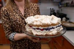 Bolo delicioso da merengue guardado por donas de casa em uma placa de vidro Pastelarias saborosos preparadas em casa fotos de stock royalty free