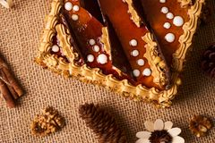 Bolo delicioso do biscoito com chocolate Imagens de Stock Royalty Free