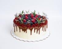 Bolo delicioso do gotejamento da cor do chocolate com bagas Imagens de Stock Royalty Free