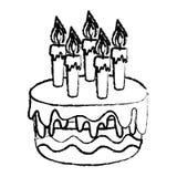 Bolo delicioso do Grunge com estilo ardente das velas ilustração do vetor