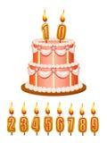 Bolo do aniversário com velas Fotos de Stock Royalty Free