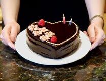 Bolo do coração do chocolate Imagens de Stock Royalty Free