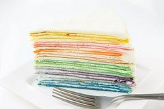 Bolo do crepe do arco-íris Imagens de Stock