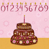 Bolo do feriado do chocolate, ilustração Fotografia de Stock